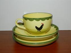 Zeller Fayencerie kézzel festett kakasos csésze