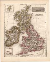 Anglia, Skócia, Írország térkép 1840, német nyelvű, atlasz, eredeti, Pesth, 23x29 cm, magyar kiadás