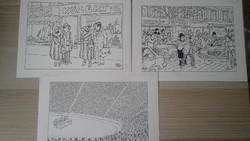 Brenner György 3 db címlap rajza az Új Ludas Matyi újságnak