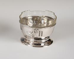 Ezüst rózsakoszorú mintás kínáló eredeti üveggel