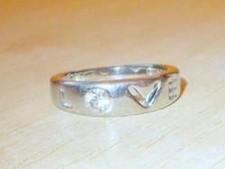 Ékköves LOVE uniszex Tibeti ezüst Karikagyűrű 7-11 -ig