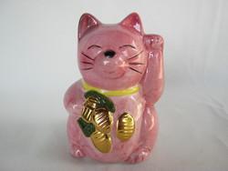 Integető rózsaszín kerámia cica macska