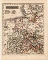 Északnyugati Német államok térkép 1840, német ny., atlasz, eredeti, Pesth, 23 x 29 cm, magyar kiadás