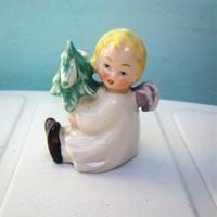 Antik gyertyatartó angyal fenyőfával, asztaldísz, vitrindísz