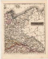 Északkeleti Német államok térkép 1840, német ny., atlasz, eredeti, Pesth, 23 x 29 cm, magyar kiadás