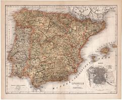 Spanyolország és Portugália térkép 1871, német nyelvű, lexikon melléklet, Madrid, régi