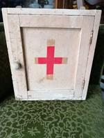 Vintage elsősegély egészségügyi fali szekrényke - orvosi gyógyszeres szekrényke
