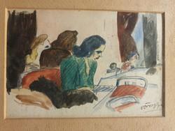 VÖRÖS GÉZA 1897- 1957-Kávézóban-