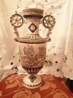 Nagyméretű majolika váza ókori jelenetekkel empire stílusú