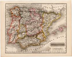 Spanyolország és Portugália térkép 1840, német nyelvű, atlasz, eredeti, Pesth, 23 x 29 cm, magyar