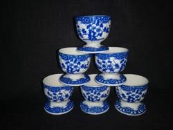 Japán porcelán tojástartó cseresznyevirágos, kék mintával, 6 db, hibátlan