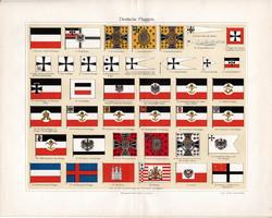 Német zászlók, színes nyomat 1903, német nyelvű, litográfia, zászló, lobogó, császári, porosz, város