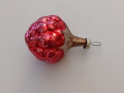 Régi üveg karácsonyfadísz málna gyümölcs üvegdísz