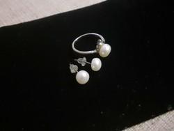 Valódi gyöngy gyűrű bedugós fülbevalóval  dobozban
