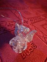 Csiszolt üveg angyalka, karácsonyfa dísz, magassága 3,3 cm.