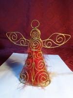 Karácsonyi angyalka figura aranyozott fémhuzalból, magassága 13 cm.