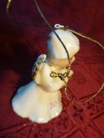 Porcelán angyalka, karácsonyfa dísz, egyben csengő, magassága 6 cm.