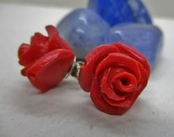 Szépséges régi ezüst fülbevaló korall színű rózsákból