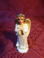 Gipsz figura, aranyozott szárnyú angyalka, magassága 6 cm.