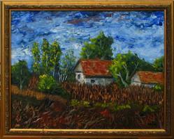 Moona -  Alföldi tanya ősszel EREDETI OLAJFESTMÉNY