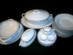 Antik Hüttl Tivadar 6 személyes Epiag porcelán teljes étkészlet, ezüstözött és apró mintás széllel