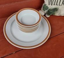 6 db Alföldi porcelán kompótos tálak, tálka +1 db nagy lapos kínáló nosztalgia