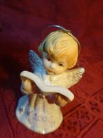 Porcelán angyalka, karácsonyfa dísz, egyben csengő, magassága 6,6 cm.