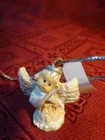 Gipsz figura, mini angyalka, karácsonyfa dísz, magassága 3 cm.
