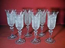 Csiszolt kristály pezsgős pohár. 6 db. Gyönyörű hibátlan darabok