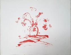 Borsos Miklós - Virágok vázában 50 x 60 cm monotípia, papír
