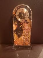 Gyönyörű Goebel tömör üveg asztali óra, Gustav Klimt - Adele, hibátlan, új