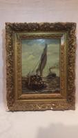 1901-ből olaj-fa jelzett hajós festmény