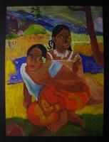Moona - Tahiti nők EREDETI pasztell festmény