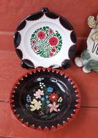 Gyönyörű   Gránit  Virágos festett falitányér,  falitányérok tányér, nosztalgia darab