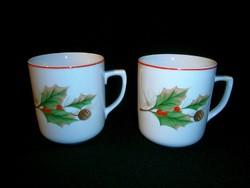 2 db jelzett csipkebogyó mintás porcelán bögre, csésze