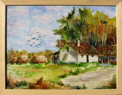 Moona - Tanya szénabálákkal EREDETI akvarell FESTMÉNY