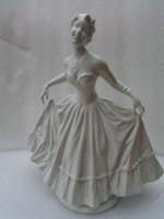 XIX. sz. Kossuth címeres egyedi porcelán hölgy élethű alkotás, közel 1 kg súlyú