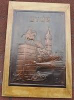 Győr - kézzel kalapált  bronz galvanoplasztika falikép