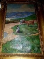 Glatz szignós olaj vászon festmény