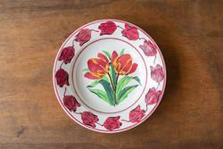 Antik Wilhelmsburg fajansztányér - gyönyörű tulipános mintával - paraszt falitál, falitányér