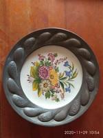 BASSANO kerámia tányér ón keretben