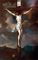 XVIII. sz. ELSŐ FELE !!! KRISZTUS A KERESZTEN OLAJ VÁSZON FESTMÉNY !!!