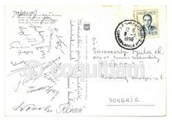 1969 Magyar labdarúgó válogatott dedikált képeslap aláírás Casablancából Albert