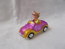 Különleges karácsonyi üveg pink autó,karácsonyfa dísz