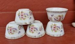 Gyönyörű ritka  porcelán 5 db virágos  csésze csészék , Gyűjtői szépség, antik