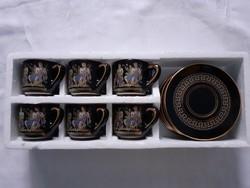 Aranyozott görög kávéscsésze alátéttel