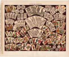 Kártya, litográfia 1895, német, színes nyomat, kártyák, fajták, típusok, játék, kártyatörténet