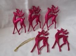 Pink csillámos szarvas karácsonyfadísz,kasácsonyi dísz rénszarvas 5db