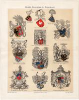 Heraldika, címertan (4), litográfia 1904, színes nyomat, eredeti, címer, német, családi, város