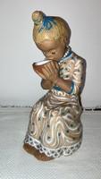 Kovács Margit - Tejivó kislány mázas kerámia szobor